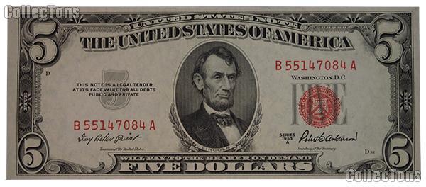 Five Dollar Bill Red Seal Series 1953 US Currency CU Crisp Uncirculated