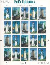 2007 Pacific Lighthouses 41 Cent US Postage Stamp Unused Sheet of 20 Scott #4146 - #4150