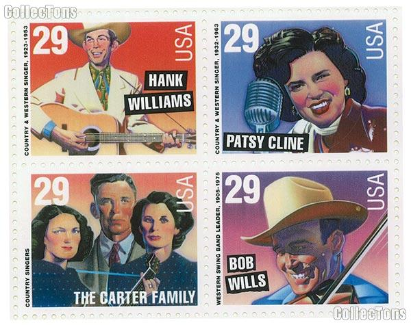 1993 Legends of American Music Series : Country & Western - Popular Singers 29 Cent US Postage Stamp MNH Sheet of 20 Scott #2771 - #2774