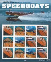 2007 United States Speedboats 41 Cent US Postage Stamp Unused Sheet of 12 Scott #4160 - #4163