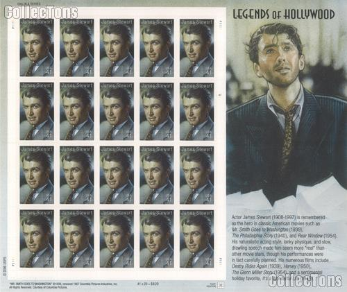 2007 United States James Stewart 41 Cent US Postage Stamp Unused Sheet of 20 Scott #4197