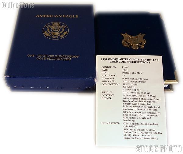 1991 American Eagle 1/4 oz Proof $10 Gold Bullion Coin OGP Replacement Box and COA