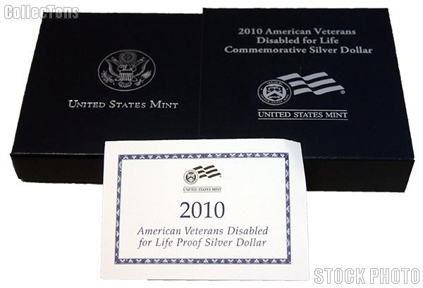 2010 W American Veterans Disabled for Life Commemorative Proof Silver Dollar