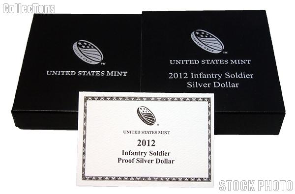 2012-W Infantry Soldier Commemorative Proof Silver Dollar OGP Replacement Box and COA
