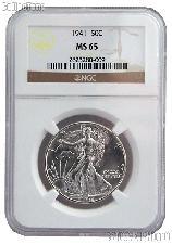 1941 Walking Liberty Silver Half Dollar in NGC MS 65