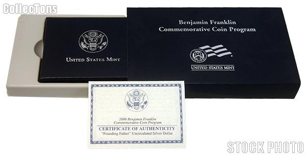 """2006 Benjamin Franklin """"Founding Father"""" Commemorative Uncirculated Silver Dollar OGP Replacement Box and COA"""