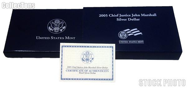 2005 Chief Justice John Marshall Commemorative Proof Silver Dollar OGP Replacement Box and COA