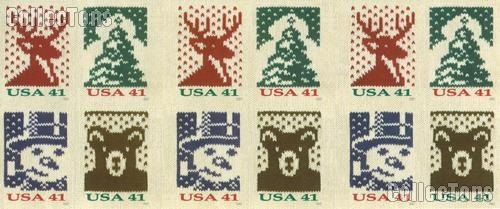 2007 Holiday Knits 41 Cent US Postage Stamp Unused Booklet of 20 Scott #4207B - #4210B
