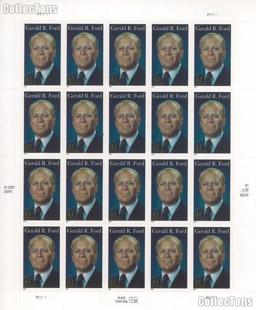 2007 Gerald R. Ford 41 Cent US Postage Stamp Unused Sheet of 20 Scott #4199