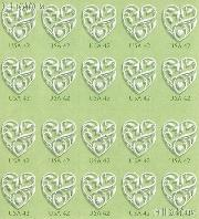 2008 Wedding Hearts 42 Cent US Postage Stamp Unused Sheet of 20 Scott #4271