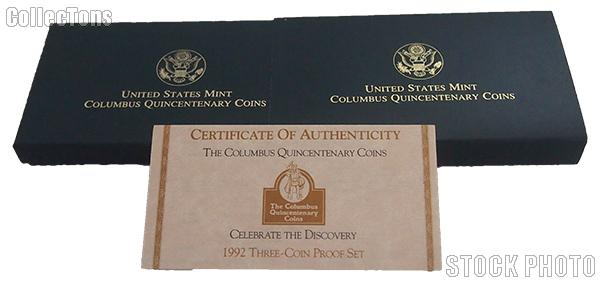 1992 Columbus Quincentenary Commemorative Proof Three-Coin Set OGP Replacement Box and COA