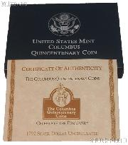 1992 Columbus Quincentenary Commemorative Uncirculated Silver Dollar OGP Replacement Box and COA