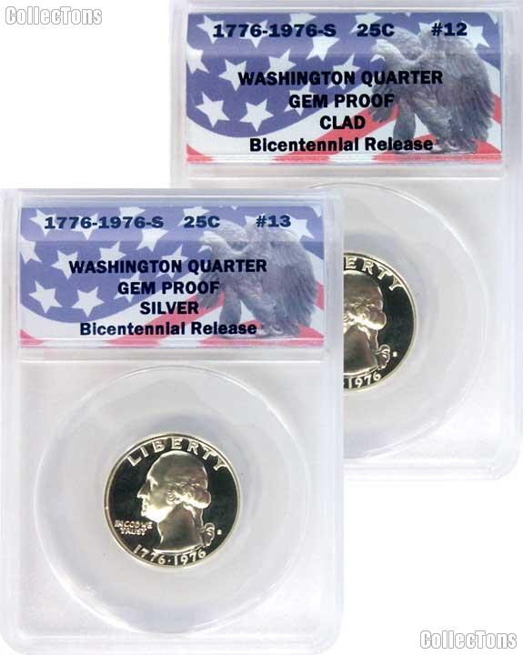 CollecTons Keepers #12 & #13: 1976-S Bicentennial Clad and Silver Washington Quarter Certified in Exclusive ANACS Gem Proof Holder