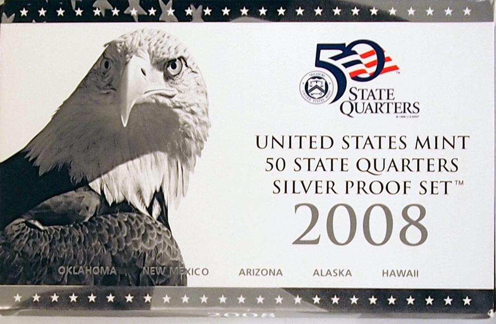 2008 SILVER QUARTER PROOF SET * 5 Coin U.S. Mint Proof Set