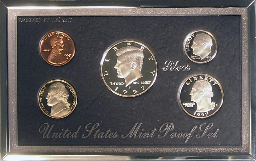 1997 PREMIER SILVER PROOF SET Deluxe Box 5 Coin U.S. Mint Proof Set