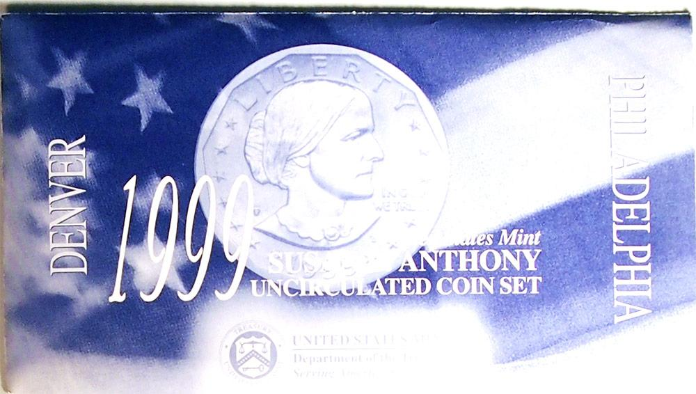 1999 Susan B Anthony Dollar US Mint Set Uncirculated P&D SBA Dollars
