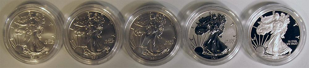 25th Anniversary Silver Eagle Set 5 Coin 2011 American Silver Eagle US Mint Set