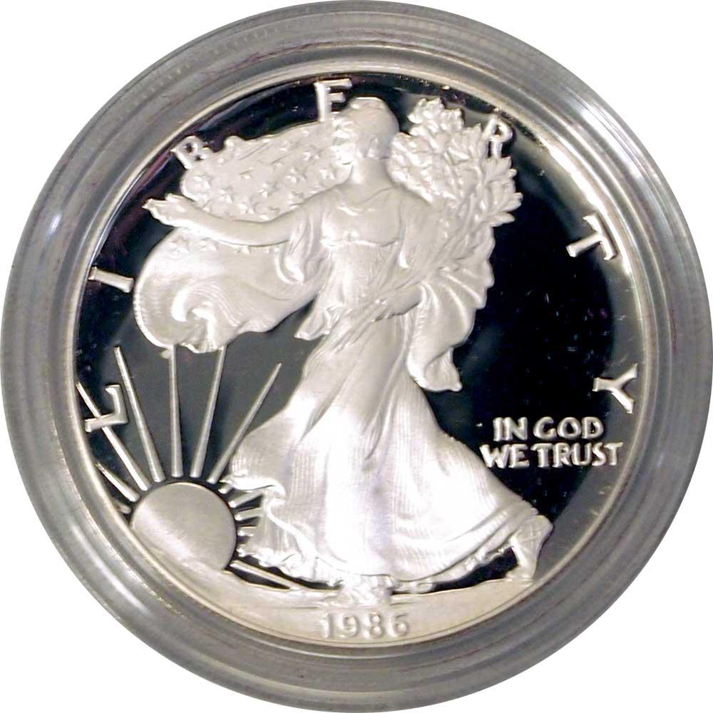1986 Silver Eagle PROOF In Box with COA 1986-S American Silver Eagle Dollar Proof