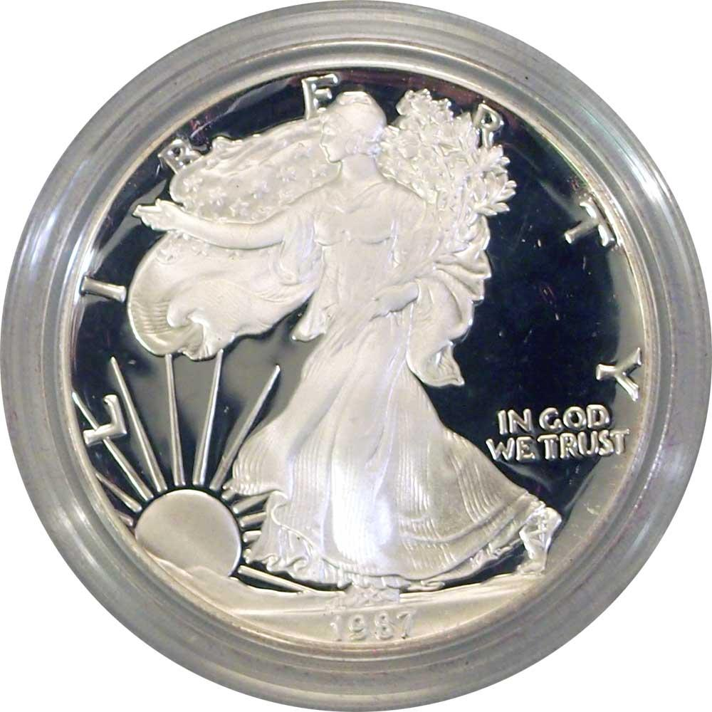 1987 Silver Eagle PROOF In Box with COA 1987-S American Silver Eagle Dollar Proof