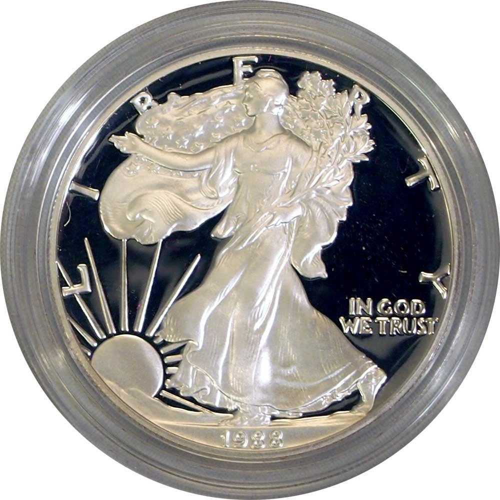 1988 Silver Eagle PROOF In Box with COA 1988-S American Silver Eagle Dollar Proof