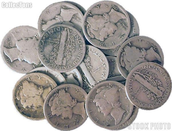1916-S Mercury Silver Dime - Lower Grade