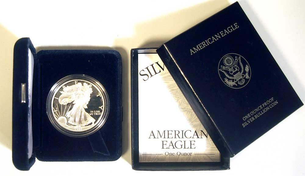 1997 Silver Eagle PROOF In Box with COA 1997-P American Silver Eagle Dollar Proof