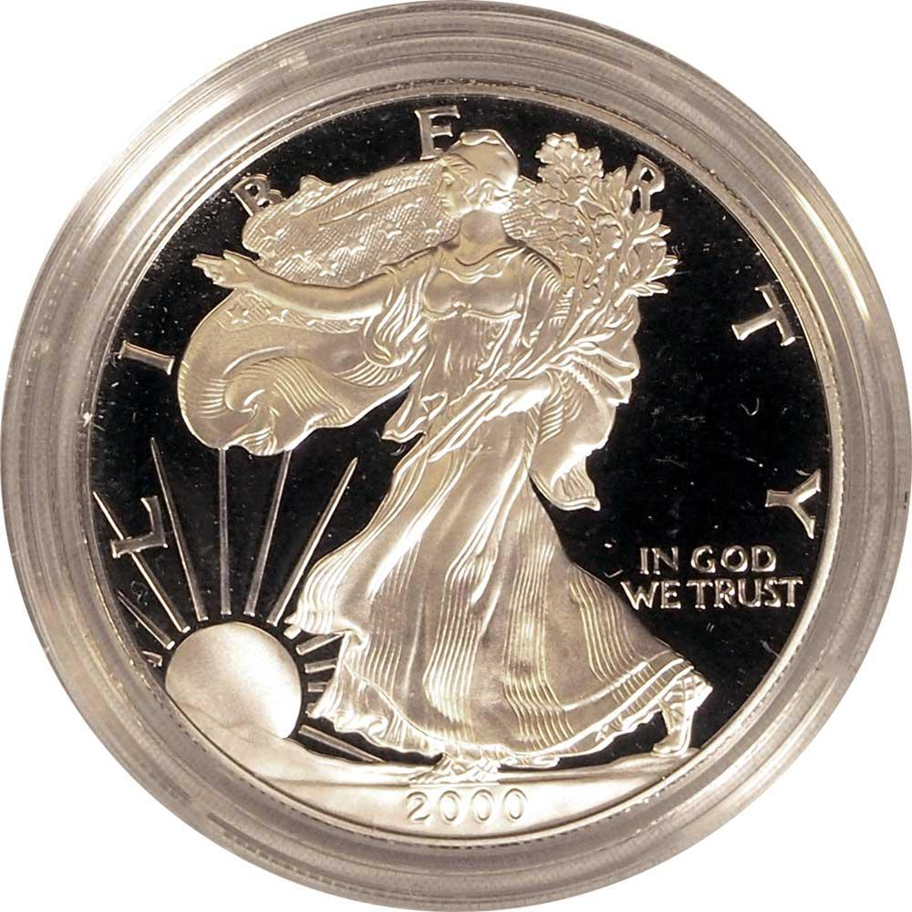 2000 Silver Eagle PROOF In Box with COA 2000-P American Silver Eagle Dollar Proof
