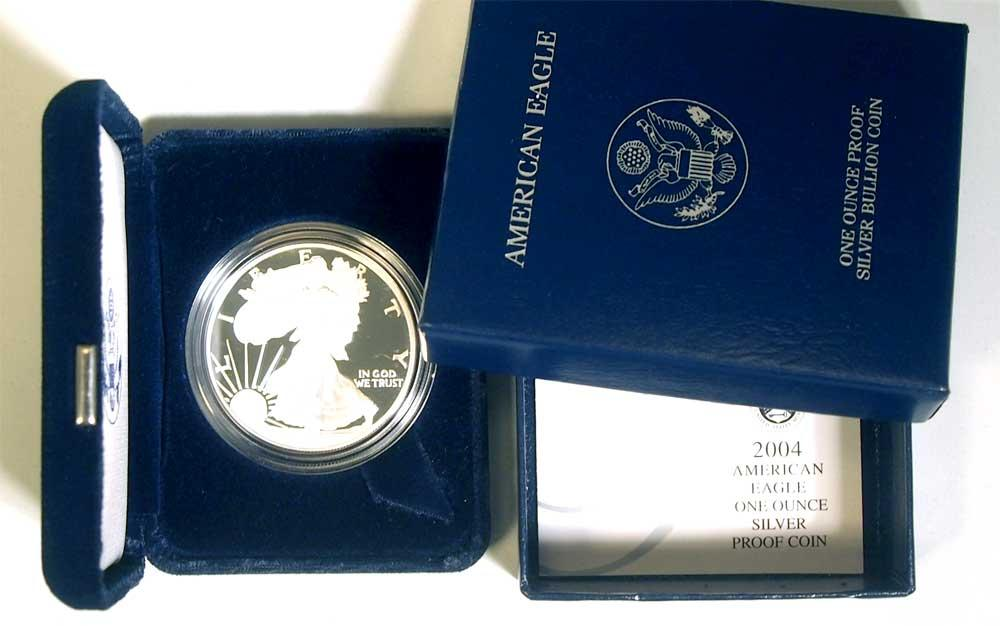 2004 Silver Eagle PROOF In Box with COA 2004-W American Silver Eagle Dollar Proof
