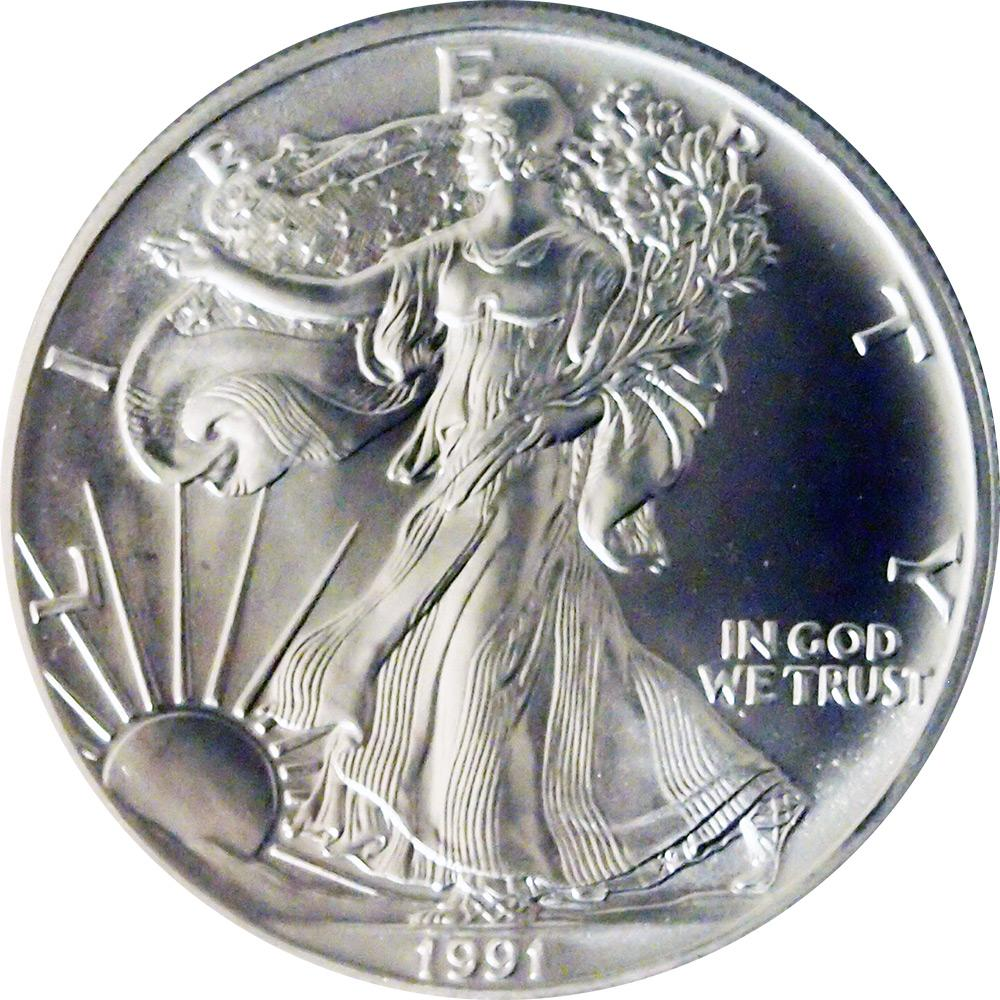 1991 American Silver Eagle Dollar BU 1oz Silver Uncirculated Coin