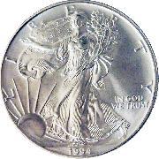 1994 American Silver Eagle Dollar BU 1oz Silver Uncirculated Coin