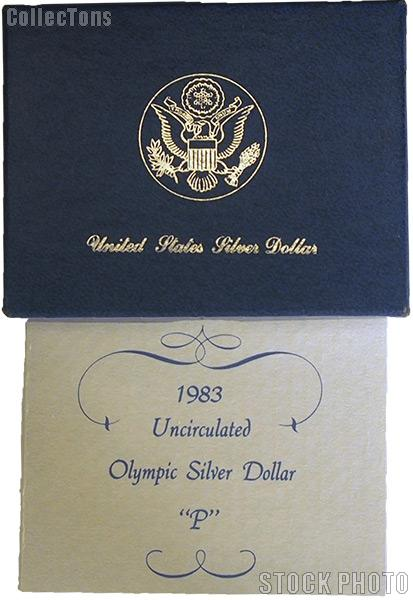 1983-P Los Angeles Olympics Commemorative Uncirculated Silver Dollar OGP Replacement Box and COA