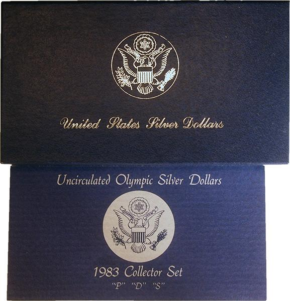 1983 Los Angeles Olympics Commemorative Uncirculated SilverThree Coin Set OGP Replacement Box and COA