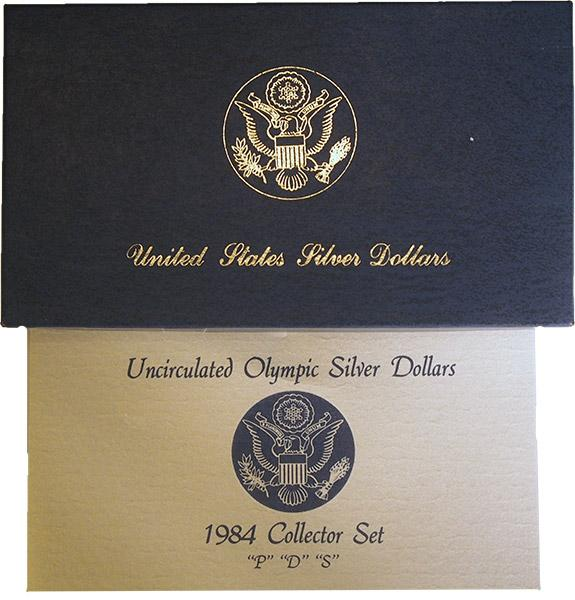1984 Los Angeles Olympics Commemorative Uncirculated Silver Three Coin Set OGP Replacement Box and COA