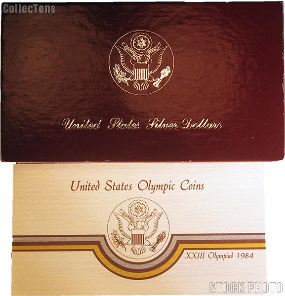 1983/4 Los Angeles Olympics Commemorative Proof Silver Two Coin Set OGP Replacement Box and COA