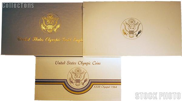 1984 Los Angeles Olympics Commemorative Uncirculated Five Dollar Gold Eagle OGP Replacement Box and COA