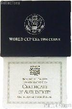 1994 World Cup Tournament Commemorative Uncirculated Silver Dollar OGP Replacement Box and COA