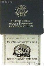 1991 Mount Rushmore Golden Anniversary Commemorative Uncirculated Half Dollar OGP Replacement Box and COA