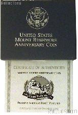 1991 Mount Rushmore Golden Anniversary Commemorative Uncirculated Silver Dollar OGP Replacement Box and COA
