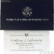 1991-1995 World War II 50th Anniversary Commemorative Uncirculated Two Coin Set OGP Replacement Box and COA