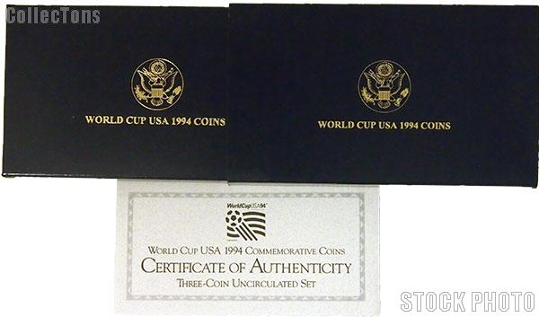 1994 World Cup Commemorative Uncirculated Three Coin Set OGP Replacement Box and COA