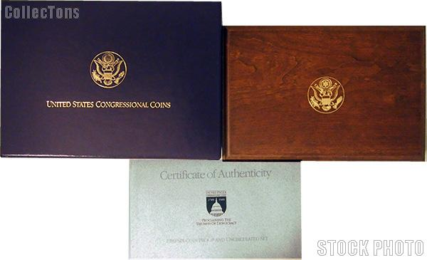 1989 United States Congressional Commemorative Six Coin Set OGP Replacement Box and COA