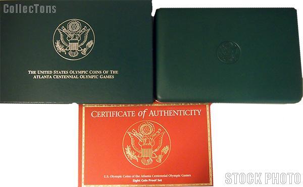 1995-1996 Atlanta Games Commemorative Eight Coin Set OGP Replacement Box and COA