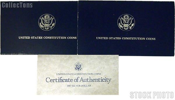 1987 U.S. Constitution Bicentennial Commemorative Uncirculated Silver Dollar OGP Replacement Box and COA