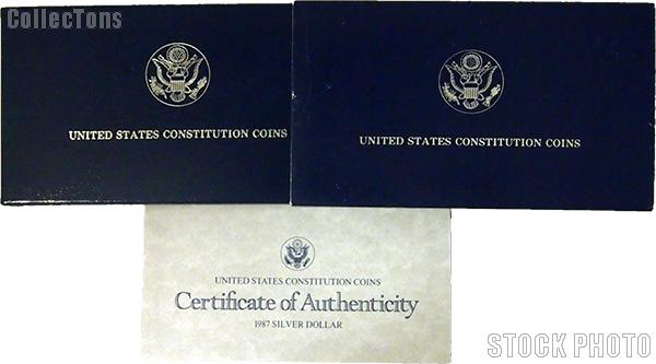 1987 U.S. Constitution Bicentennial Commemorative Proof Silver Dollar OGP Replacement Box and COA