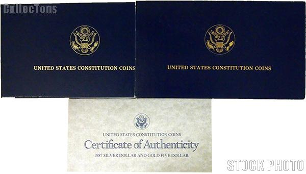 1987 U.S. Constitution Bicentennial Commemorative Uncirculated Silver Dollar and Gold Five Dollar OGP Replacement Box and COA