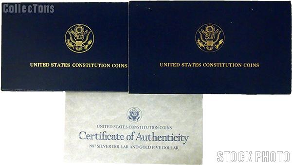 1987 U.S. Constitution Bicentennial Commemorative Proof Silver Dollar and Gold Five Dollar OGP Replacement Box and COA