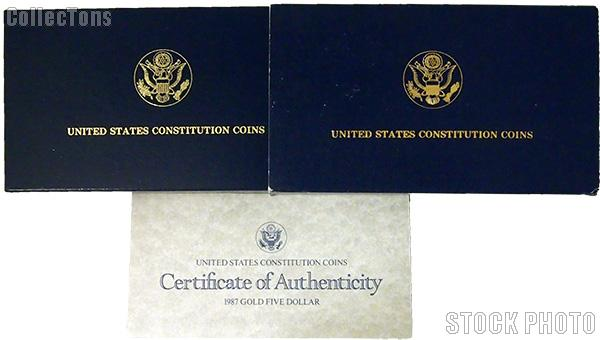 1987 U.S. Constitution Bicentennial Commemorative Uncirculated Gold Five Dollar OGP Replacement Box and COA