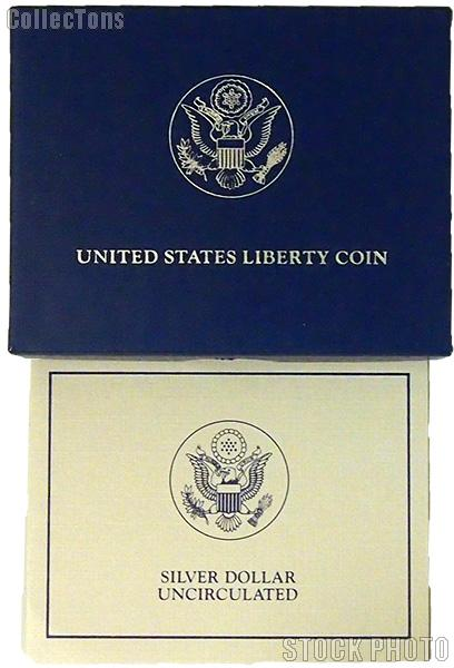 1986 Statue of Liberty Centennial Commemorative Uncirculated Silver Dollar OGP Replacement Box and COA