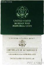 1991 Korean War Memorial Commemorative Uncirculated Silver Dollar OGP Replacement Box and COA