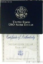 1991 United States Organizations 50th Anniversary Commemorative Uncirculated Silver Dollar OGP Replacement Box and COA